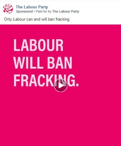Screenshot of Labour paid campaign on Facebook