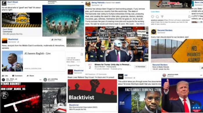 Screenshot of paid political campaigns from US elections