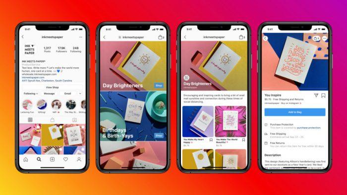 Four images of mobile phones displaying social media platform Facebook's Shop pages.