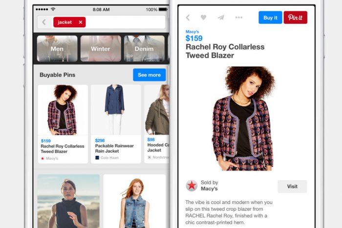 Two mobile phone images displaying woman in tweed coat and social media shoppable pins on Pinterest