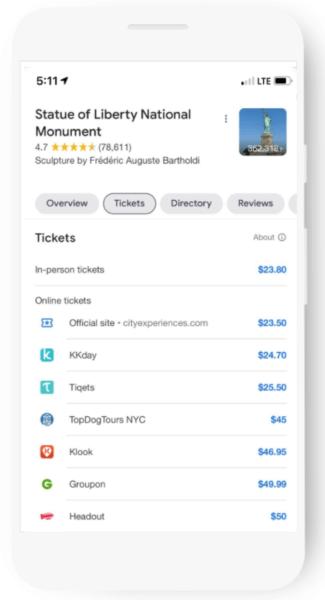 Google Ticket Booking Links